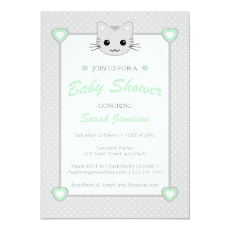 Gray Green Neutral Cute  Kawaii Cat Baby Shower 5x7 Paper Invitation Card