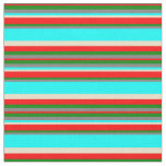 [ Thumbnail: Gray, Green, Red, Tan, and Aqua Colored Stripes Fabric ]