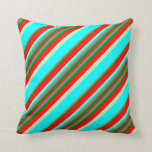 [ Thumbnail: Gray, Green, Red, Tan, and Aqua Colored Stripes Throw Pillow ]