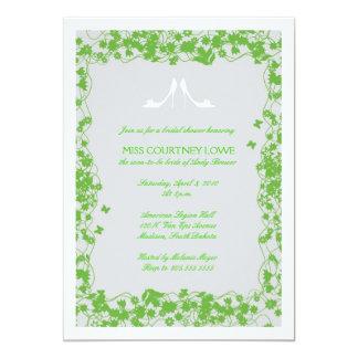 Gray & Green Shoes Bridal Shower Invitation