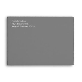 Gray Grey A7 5x7 Envelopes With Return Address