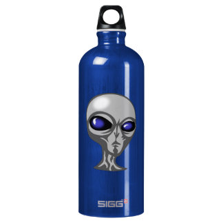 Gray/Grey Alien with Big Blue Eyes and Shiny Head Aluminum Water Bottle