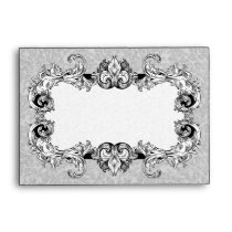 Gray Grey and White A6 Gothic Baroque Envelopes