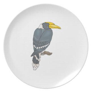 Gray/Grey and White Hornbill Bird Dinner Plate