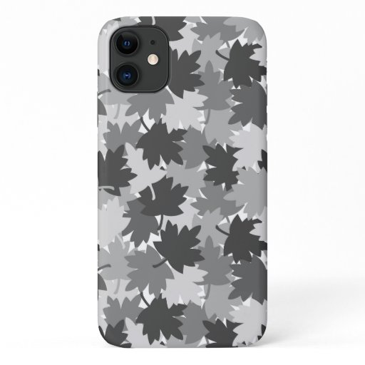 Gray Grey Camouflage Camo Maple Leaves Rustic iPhone 11 Case