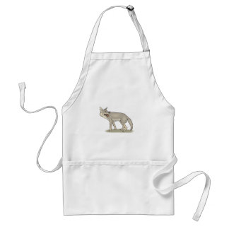 Gray/Grey Cartoon Coyote with Its Mouth Open Adult Apron