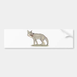 Gray/Grey Cartoon Coyote with Its Mouth Open Bumper Sticker