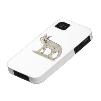 Gray/Grey Cartoon Coyote with Its Mouth Open Vibe iPhone 4 Covers