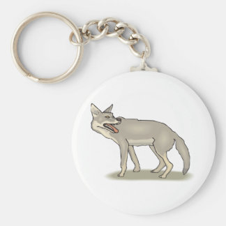 Gray/Grey Cartoon Coyote with Its Mouth Open Key Chains
