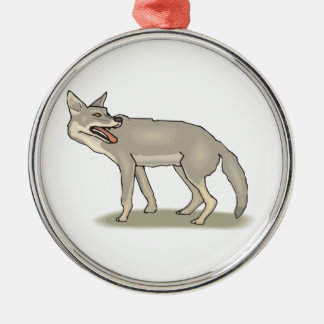 Gray/Grey Cartoon Coyote with Its Mouth Open Metal Ornament