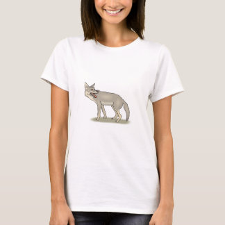 Gray/Grey Cartoon Coyote with Its Mouth Open T-Shirt