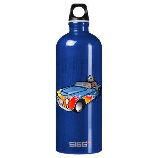 Gray/Grey Cartoon Dog Driving Blue Sports Car Aluminum Water Bottle
