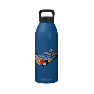 Gray/Grey Cartoon Dog Driving Blue Sports Car Water Bottles