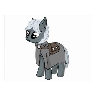 Gray/Grey Cartoon Fantasy Pony Filly Wearing Cloak Post Card