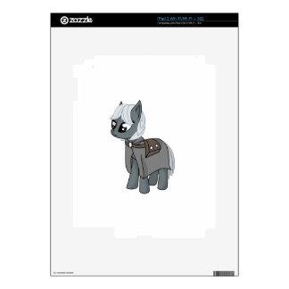 Gray/Grey Cartoon Fantasy Pony Filly Wearing Cloak Decals For The iPad 2