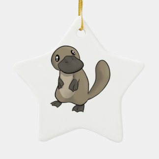 Gray/Grey Cartoon Platypus Ceramic Ornament
