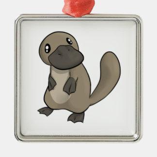 Gray/Grey Cartoon Platypus Metal Ornament
