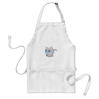 Gray/Grey Cat with Big Blue Eyes and Short Legs Adult Apron