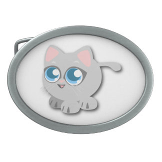 Gray Grey Cat with Big Blue Eyes and Short Legs Belt Buckles