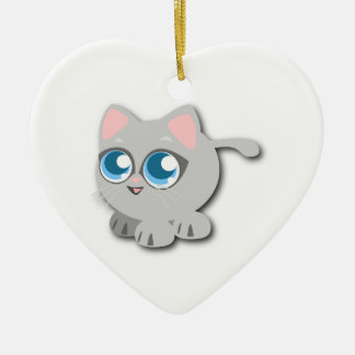 Gray/Grey Cat with Big Blue Eyes and Short Legs Double-Sided Heart Ceramic Christmas Ornament