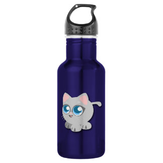 Gray/Grey Cat with Big Blue Eyes and Short Legs Water Bottle
