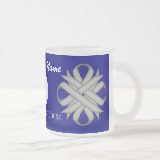 Gray / Grey Clover Rbn. Template Frosted Glass Mug