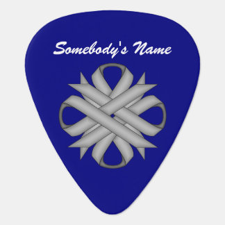 Gray / Grey Clover Ribbon by Kenneth Yoncich Guitar Pick