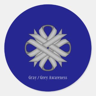 Gray / Grey Clover Ribbon Classic Round Sticker