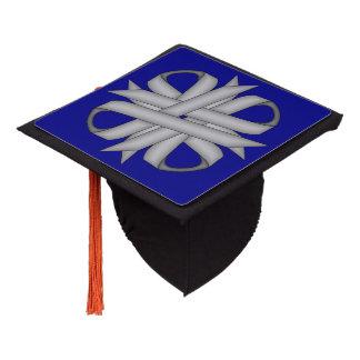 Gray / Grey Clover Ribbon Graduation Cap Topper