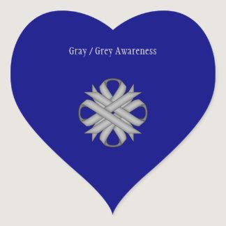 Gray / Grey Clover Ribbon Heart Sticker