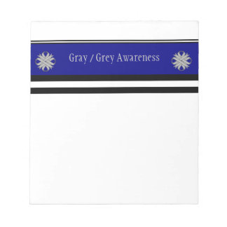 Gray / Grey Clover Ribbon Notepad