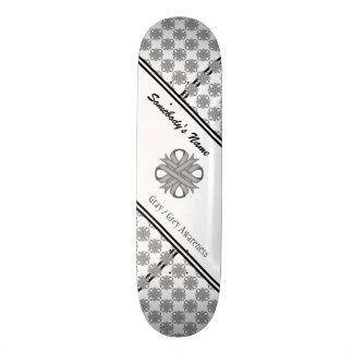 Gray / Grey Clover Ribbon Skateboard