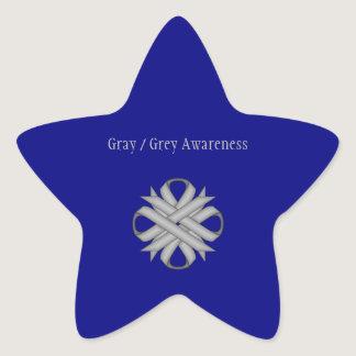 Gray / Grey Clover Ribbon Star Sticker