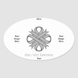 Gray / Grey Clover Ribbon Template Oval Sticker
