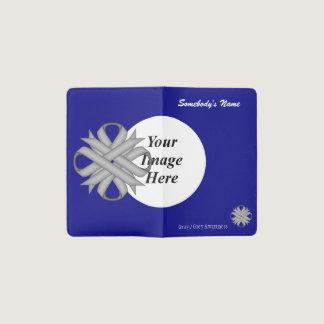 Gray / Grey Clover Ribbon Template Pocket Moleskine Notebook