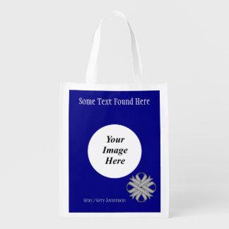 Gray / Grey Clover Ribbon Template Reusable Grocery Bag