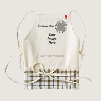 Gray / Grey Clover Ribbon Template Zazzle HEART Apron