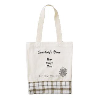 Gray / Grey Clover Ribbon Template Zazzle HEART Tote Bag