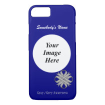 Gray/Grey Clover Ribbon Tmpl by Kenneth Yoncich iPhone 8/7 Case