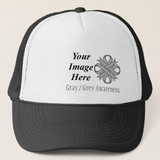 Gray/Grey Clover Ribbon Tmpl by Kenneth Yoncich Trucker Hat