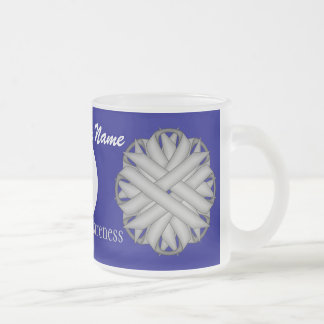 Gray / Grey Flower Rbn. Template Frosted Glass Mug