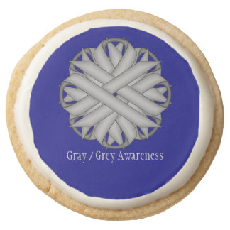 Gray / Grey Flower Ribbon by Kenneth Yoncich Round Shortbread Cookie