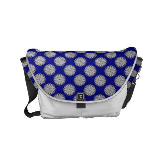 Gray / Grey Flower Ribbon by Kenneth Yoncich Small Messenger Bag