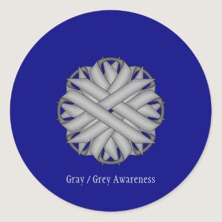 Gray / Grey Flower Ribbon Classic Round Sticker