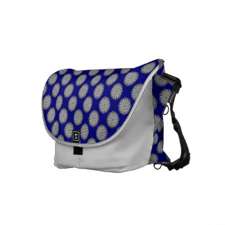 Gray / Grey Flower Ribbon Courier Bag
