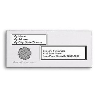 Gray / Grey Flower Ribbon Envelope
