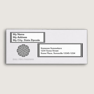 Gray / Grey Flower Ribbon Envelope