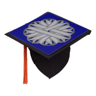 Gray / Grey Flower Ribbon Graduation Cap Topper