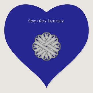 Gray / Grey Flower Ribbon Heart Sticker