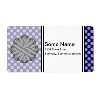 Gray / Grey Flower Ribbon Label